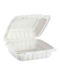 "Karat Earth 8"" x 8"" Mineral Filled PP Hinged Container, 1 compartment - White"