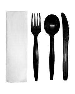 Karat PP Medium-Heavy Weight Cutlery Kits - Black - 250 ct, U2201B